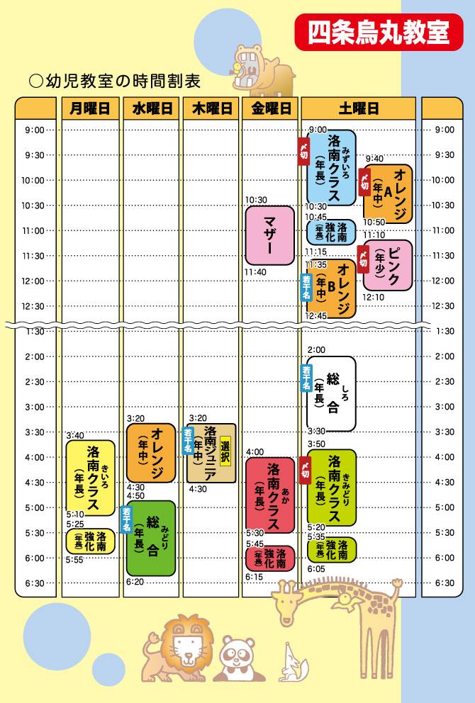 四条烏丸教室の時間割