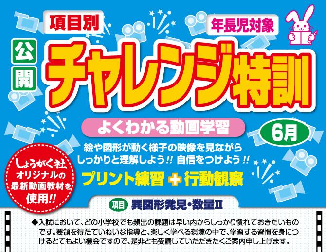 【公開】項目別チャレンジ特訓(6月) 年長組対象