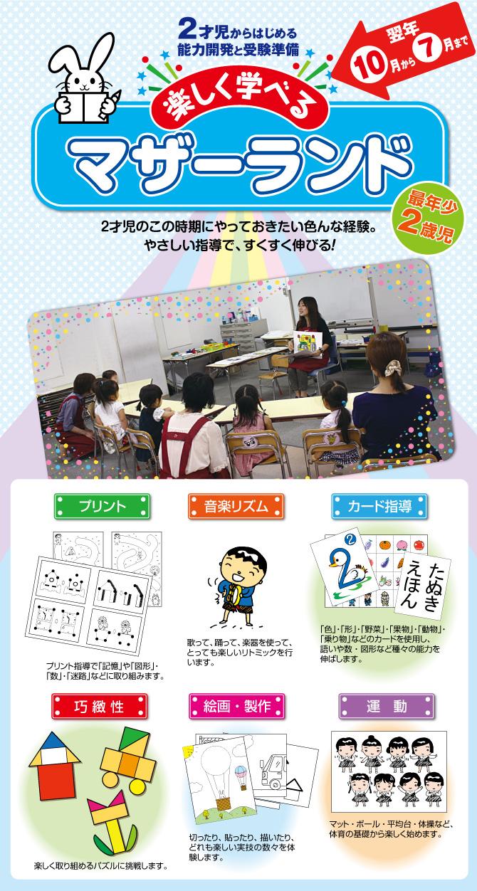 マザーランドは有名幼稚園入園準備と知能開発のための2歳児クラスです。幼児教室(年長組・年中組・年少組)
